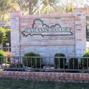 Sky Ranch Lodge and Botanical Gardens sign